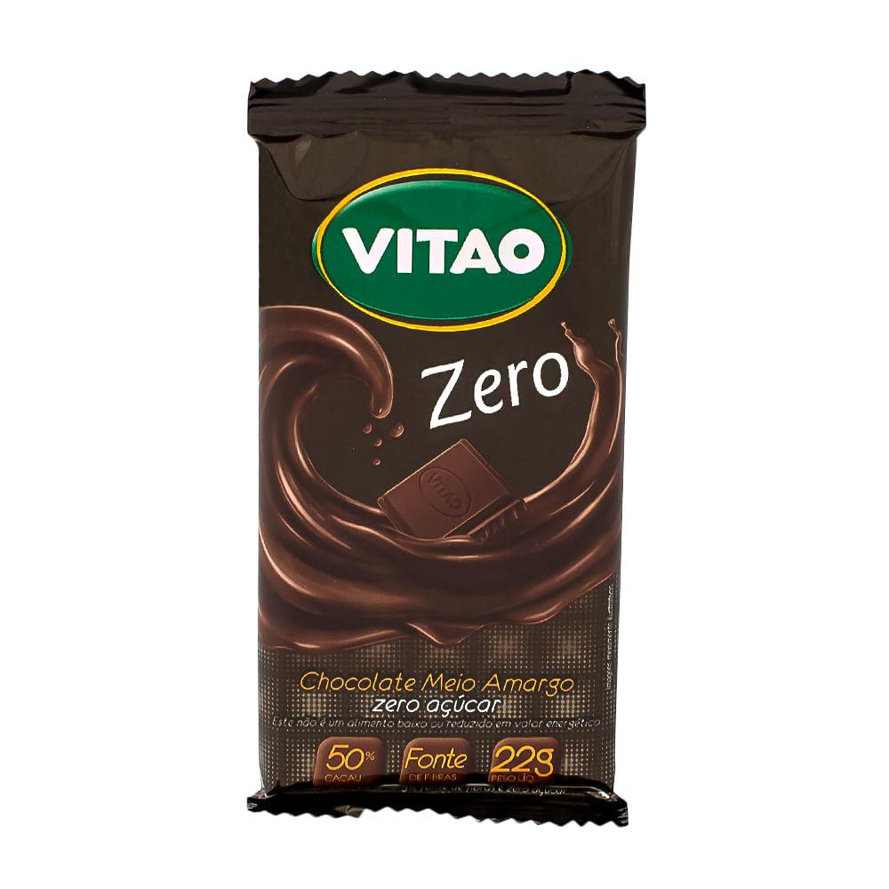 Chocolate Vitao Zero Meio Amargo Zero Açúcar com 22g