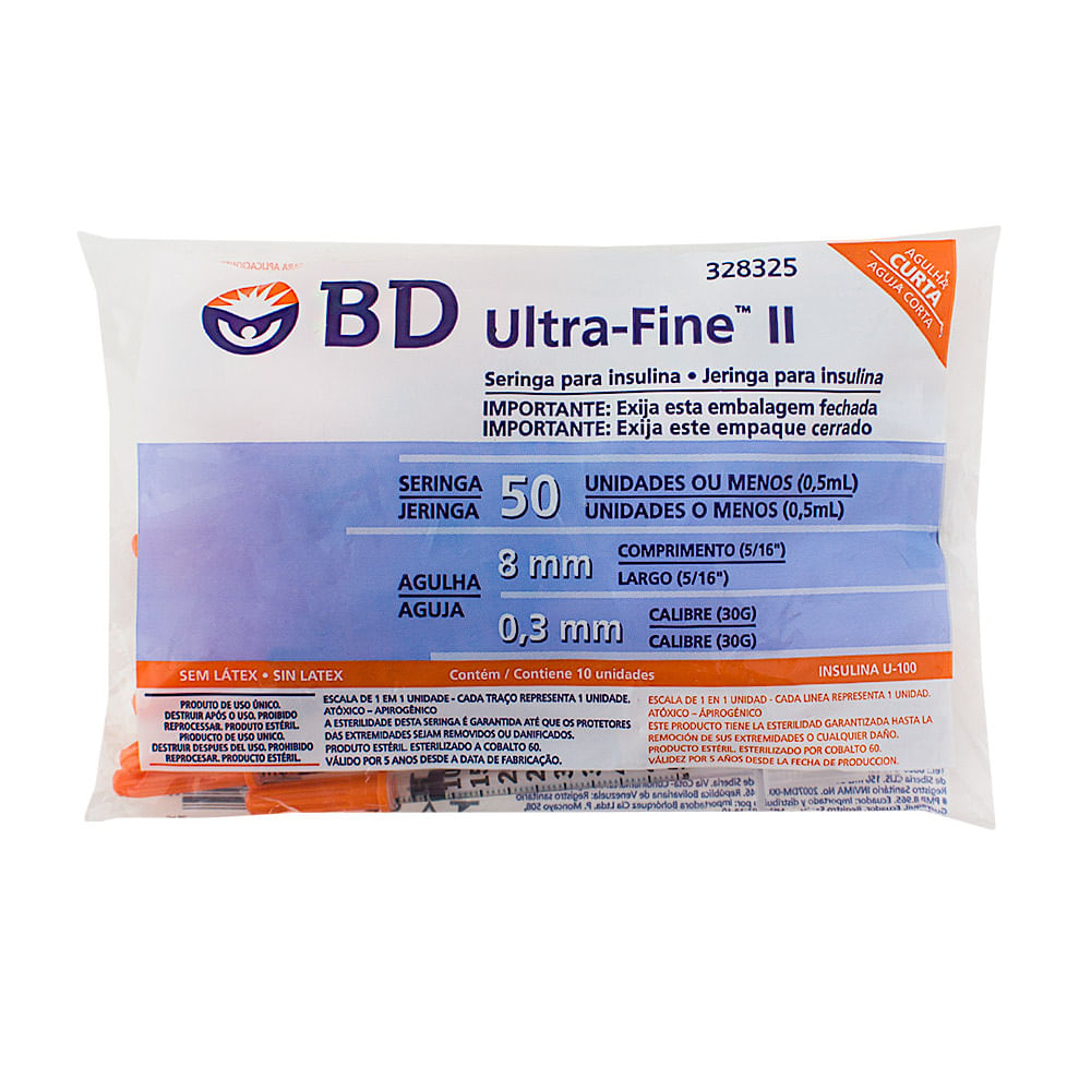 Seringa BD Ultra-Fine Insulina 50U Agulha Curta 8mm com 10 Unidades