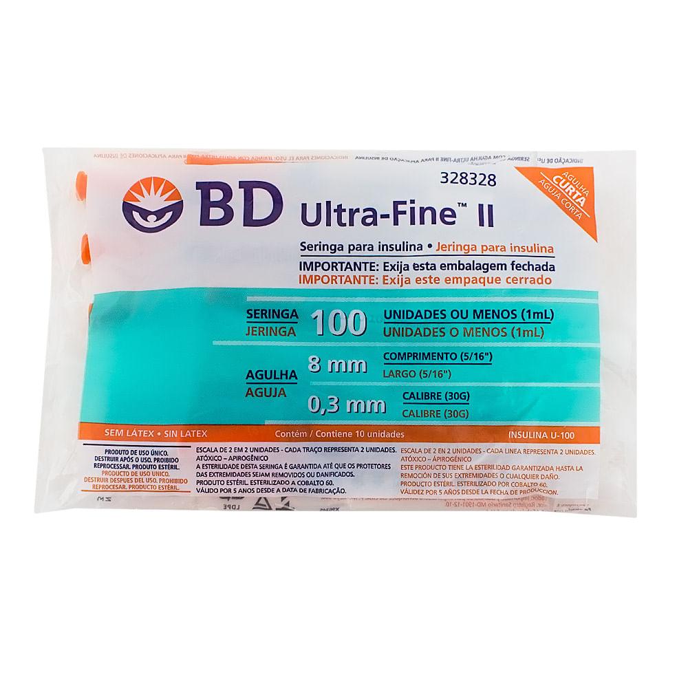 Seringa BD Ultra-Fine Insulina 100U Agulha Curta 8mm com 10 Unidades