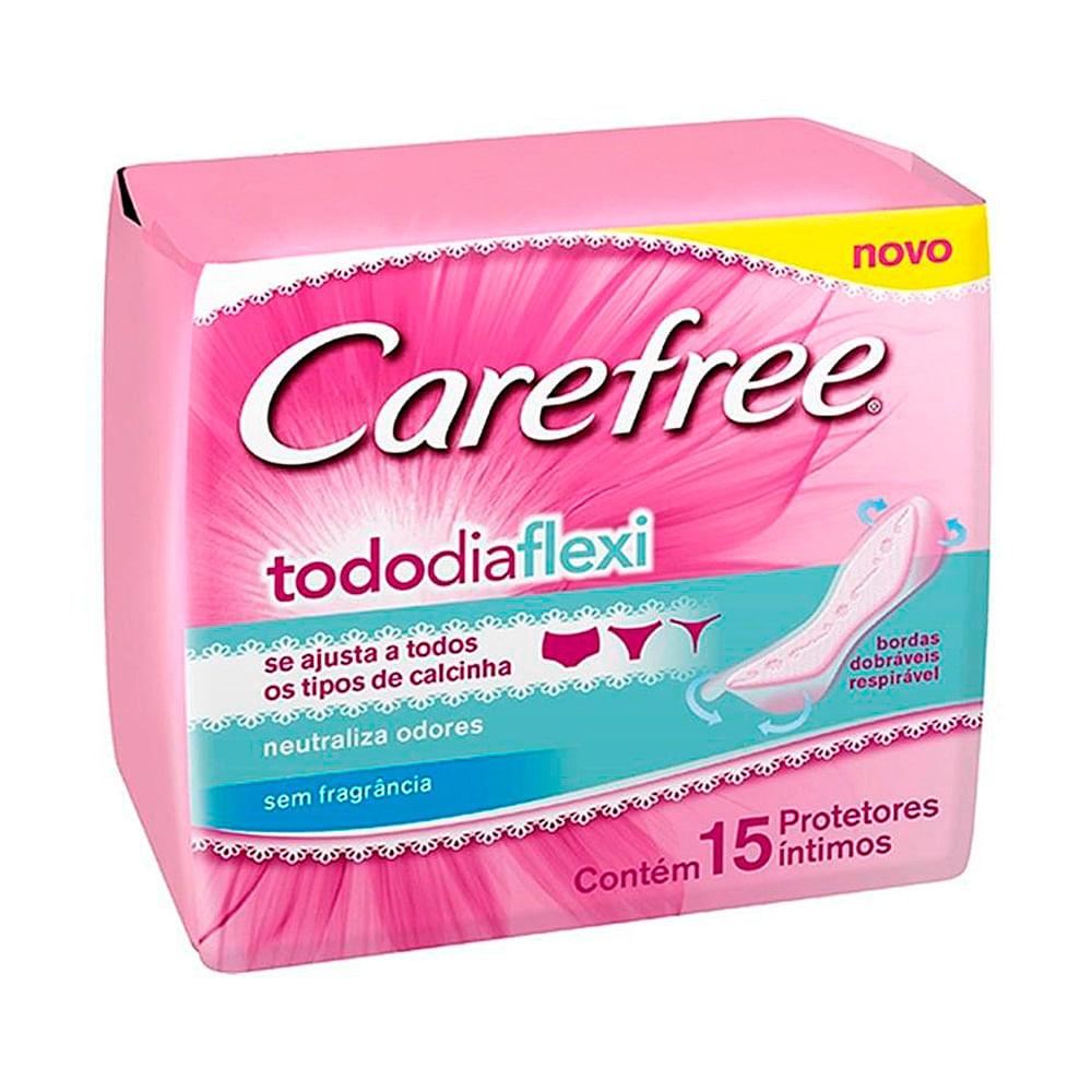 Protetor Diário Carefree Todo dia Flexi sem Perfume com 15 Unidades