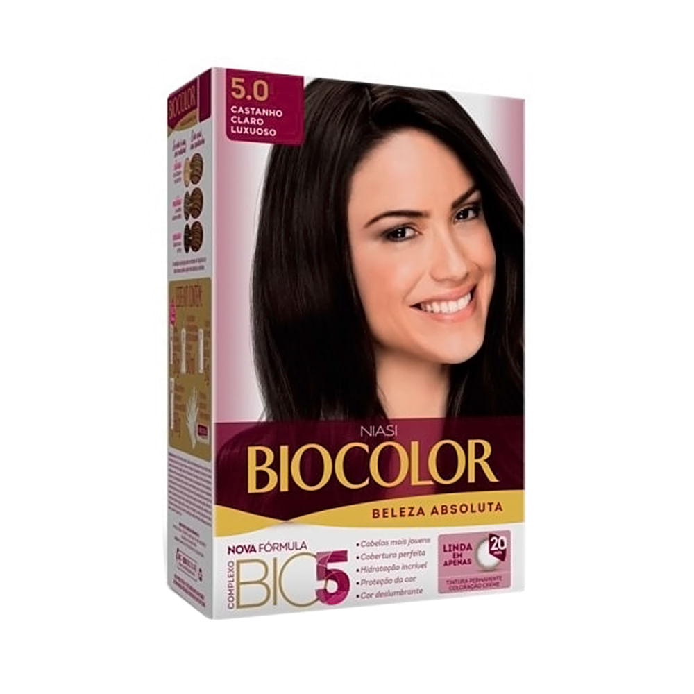 Tintura Creme Biocolor Beleza Absoluta Niasi Castanho Claro Luxuoso 5.0 Kit