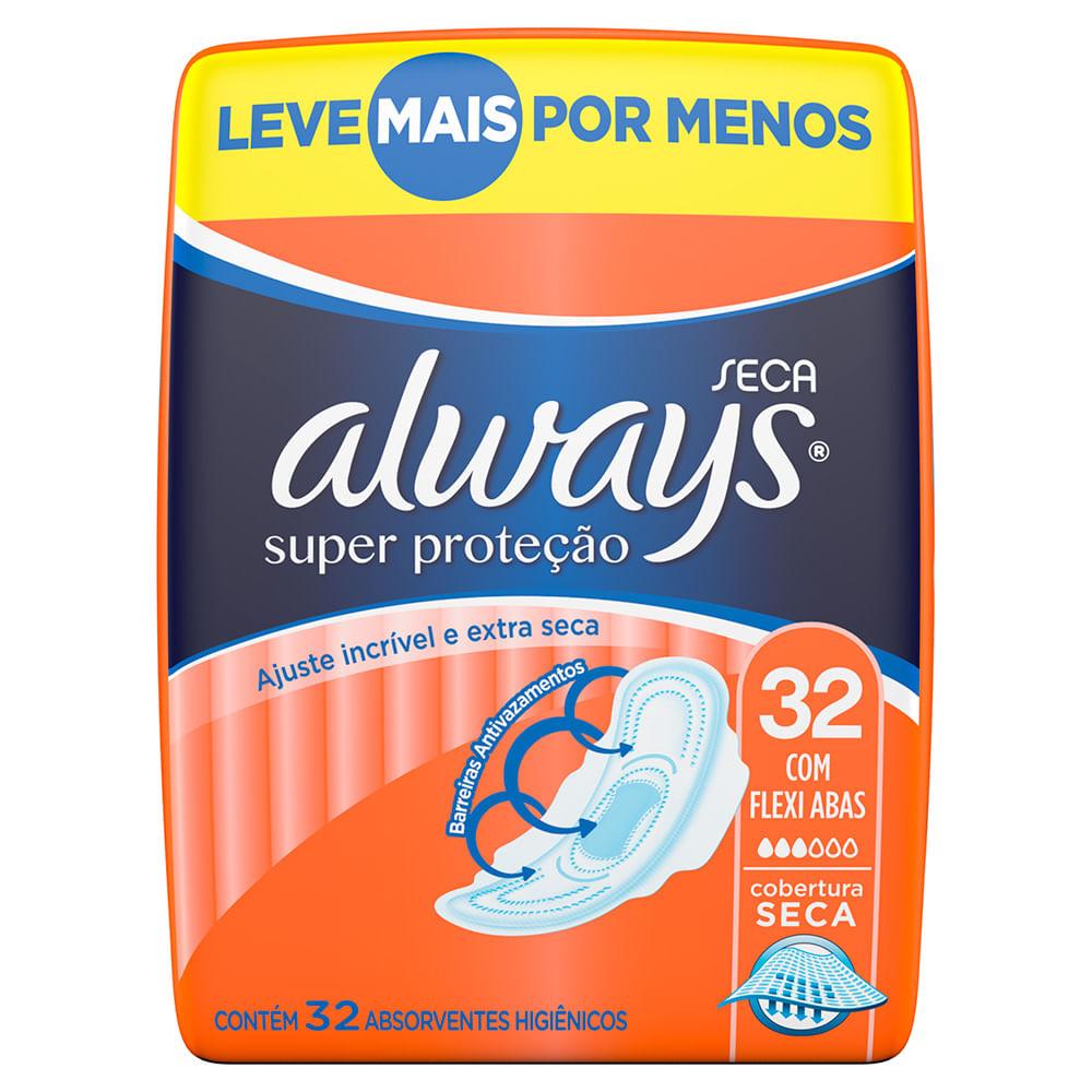 Absorvente Always Super Proteção Cobertura Seca Com Abas Leve 32 Pague 28 Unidades