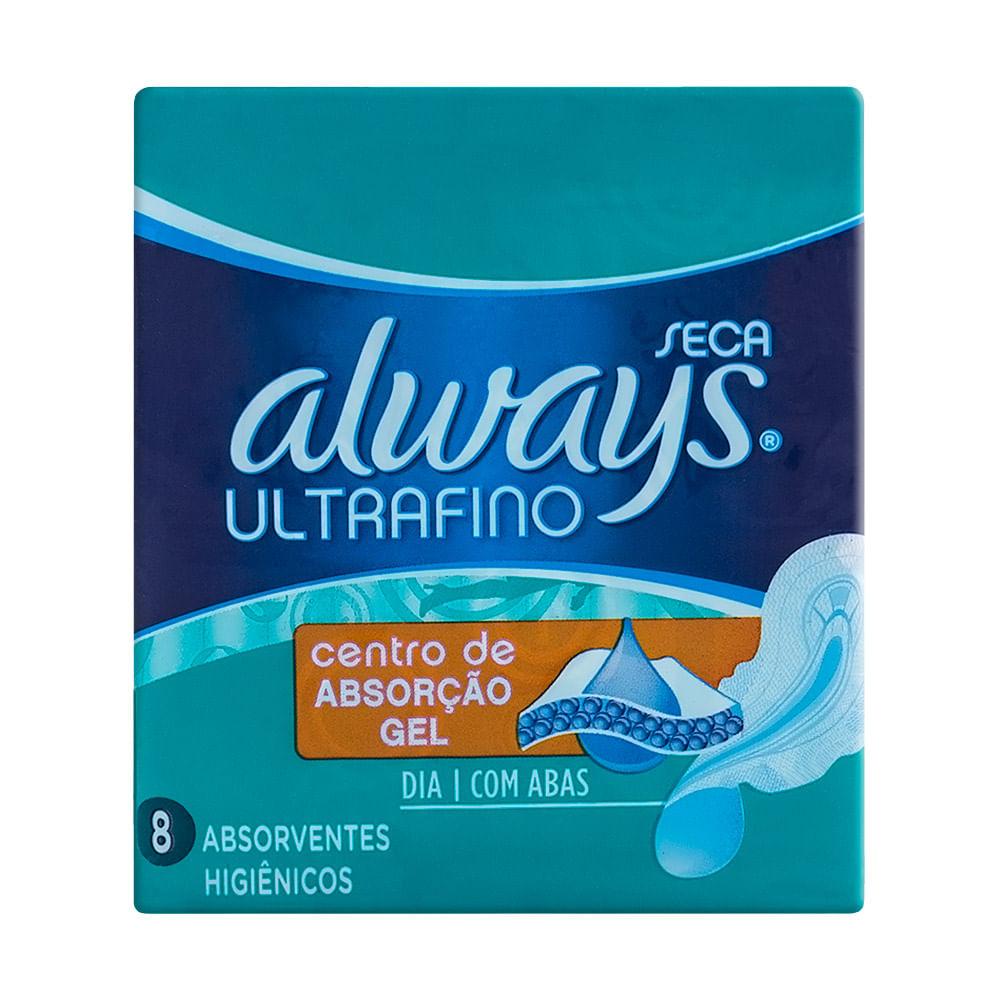 Absorvente Always Ultrafino Cobertura Seca com Abas com 8 Unidades