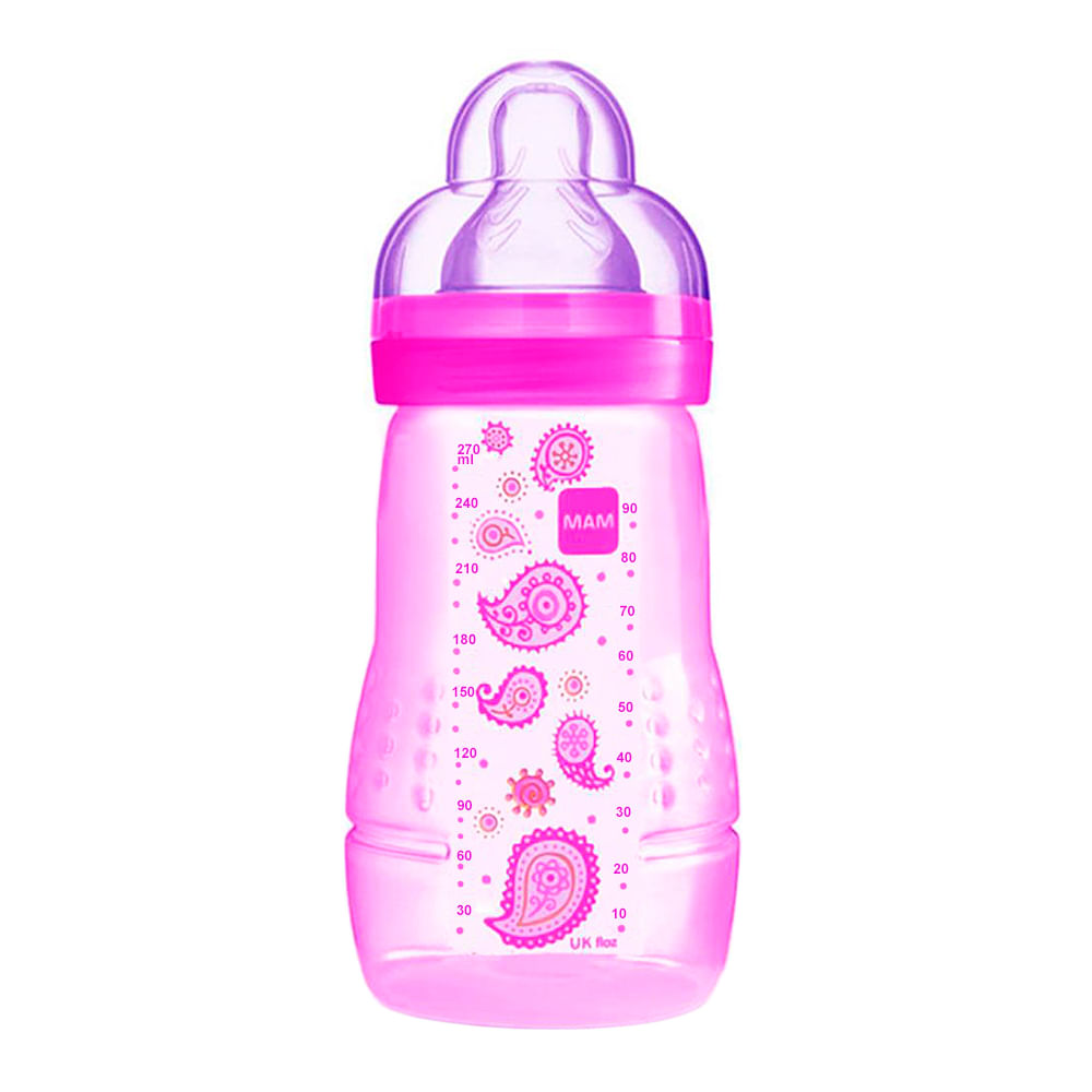 Mamadeira Mam Easy Active Fashion Bottle Bico de Silicone Silk Teat Cores Sortidas 270ml 2+ Meses Grls Ref 4838