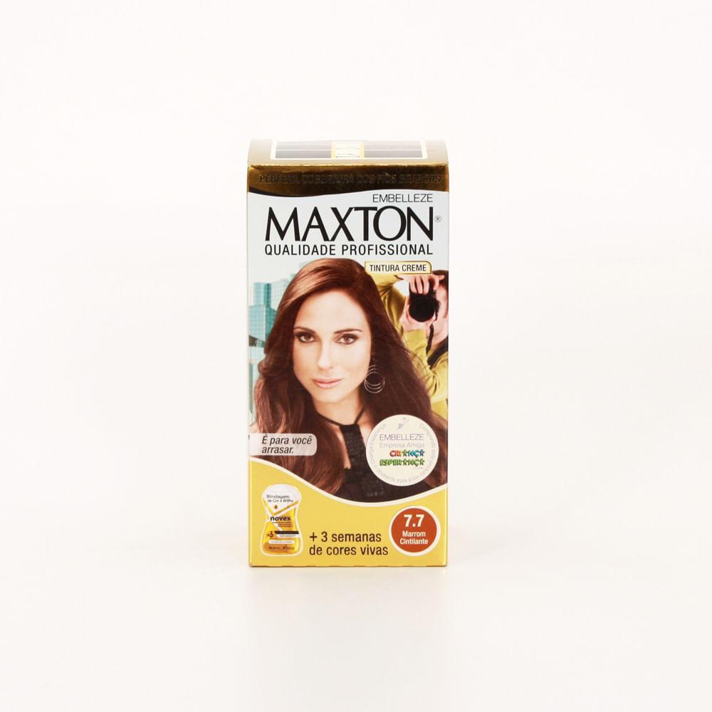 Tintura Maxton Creme Tons de Castanho Marrom Tintura Maxton Creme Embelleze kit Marrom Cintilante 7.7