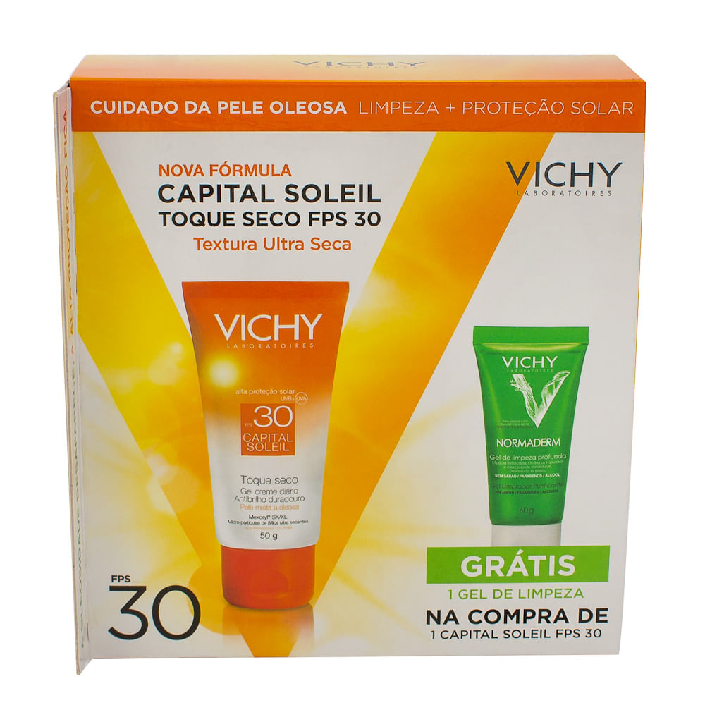 Protetor Solar Vichy Capital Soleil Toque Seco FPS 30 Gel Creme com 50g + Normaderm Gel de Limpeza Vichy com 60g