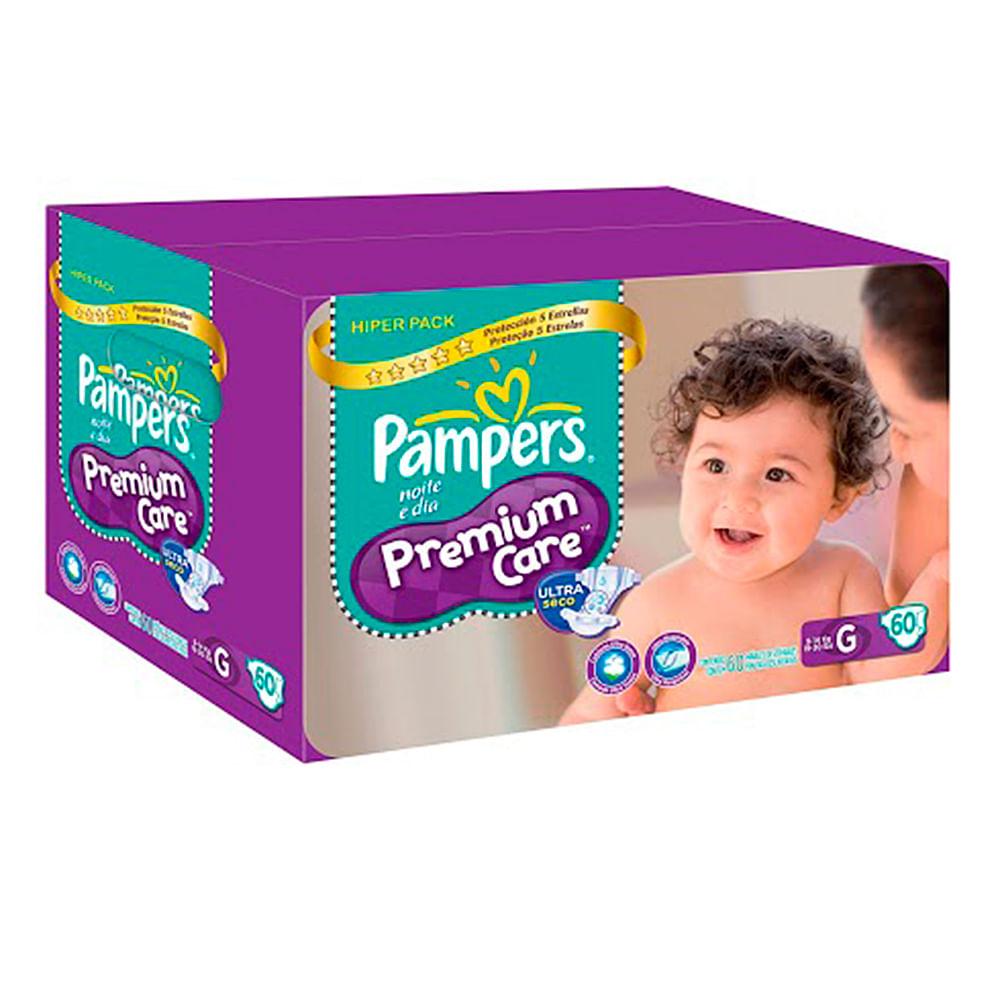 Fralda Pampers Premium Care Pacote Hiper Tamanho G com 60 Fraldas Descartáveis