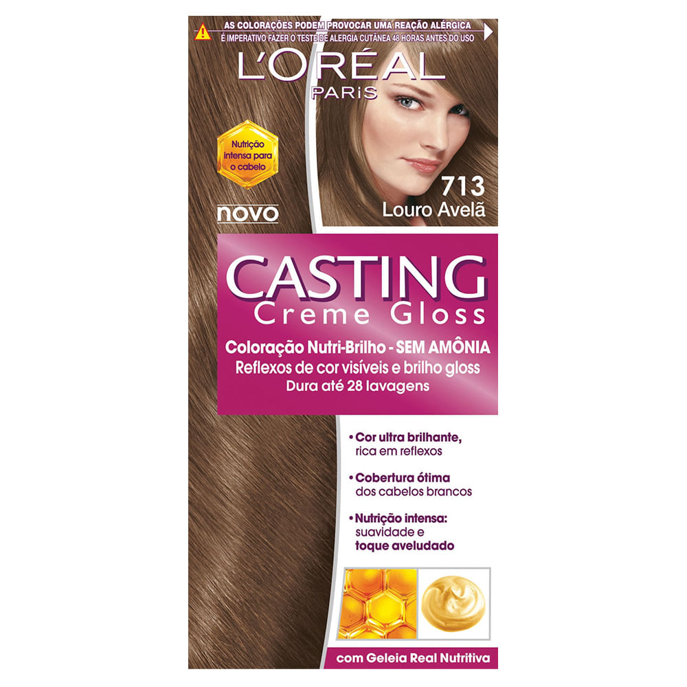 Amado Tintura Creme Casting Creme Gloss L'oréal Louro Avelã 713 - Beleza  WY55