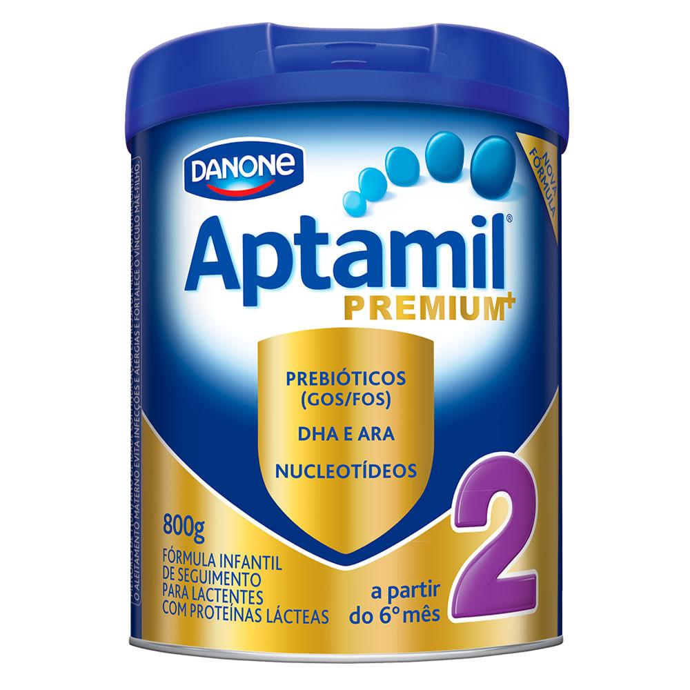 Leite Aptamil Premium+ 2 em Pó Fórmula Infantil para Lactentes a Partir de 6 Meses Lata com 800g