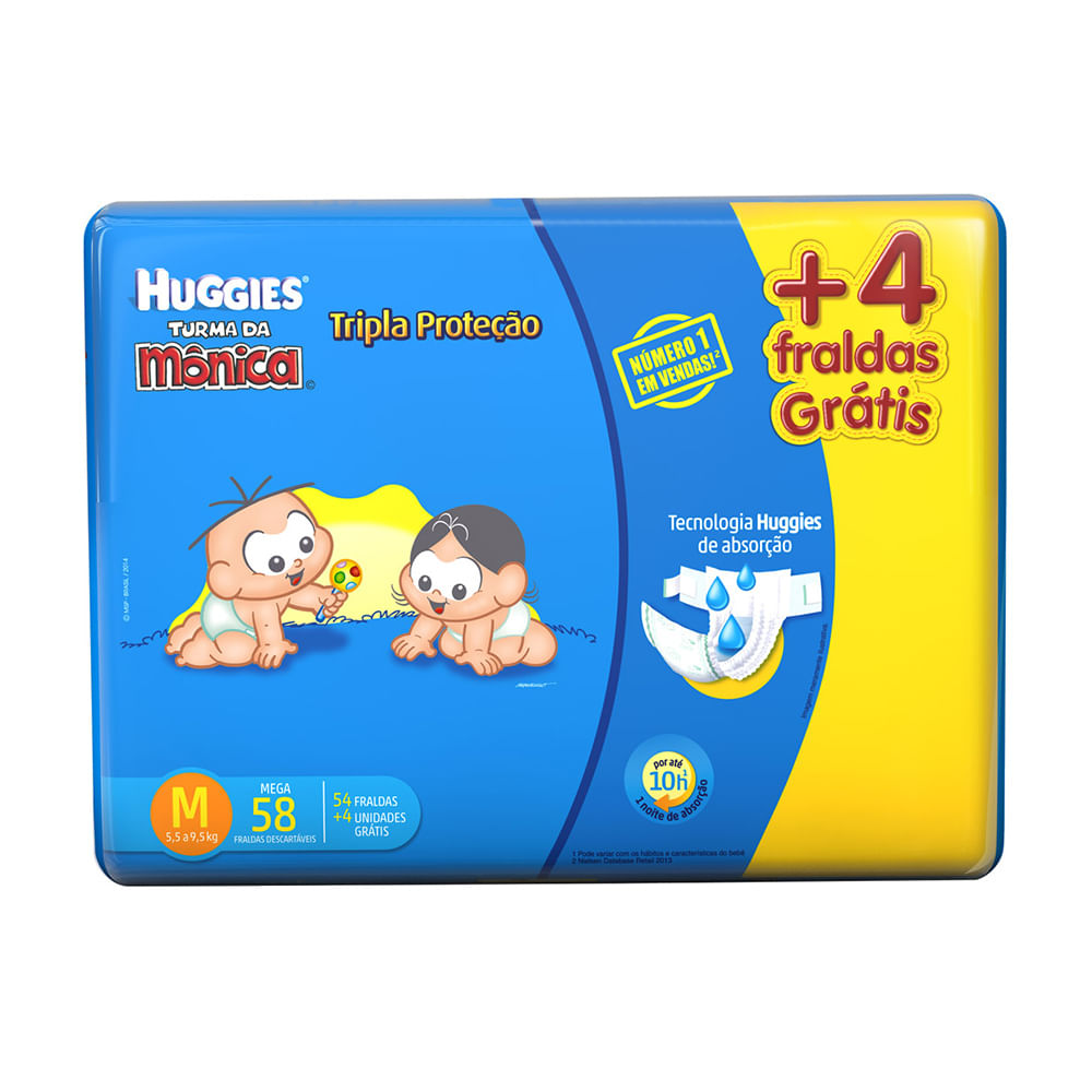 Fralda Turma da Mônica Tripla Proteção Tamanho M Pacote Mega com 54 Fraldas Descartáveis + Grátis 4 Fraldas