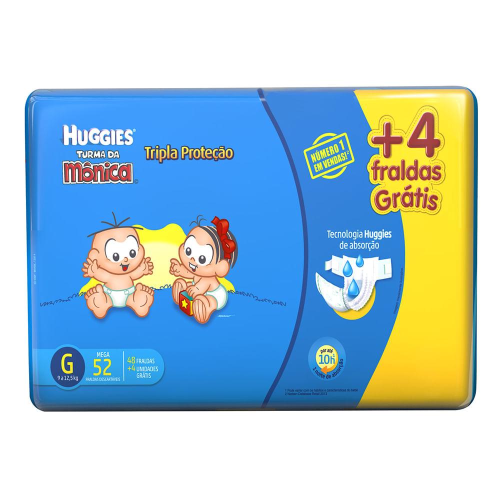 Fralda Turma da Mônica Tripla Proteção Tamanho G Pacote Mega com 48 Fraldas Descartáveis + Grátis 4 Fraldas