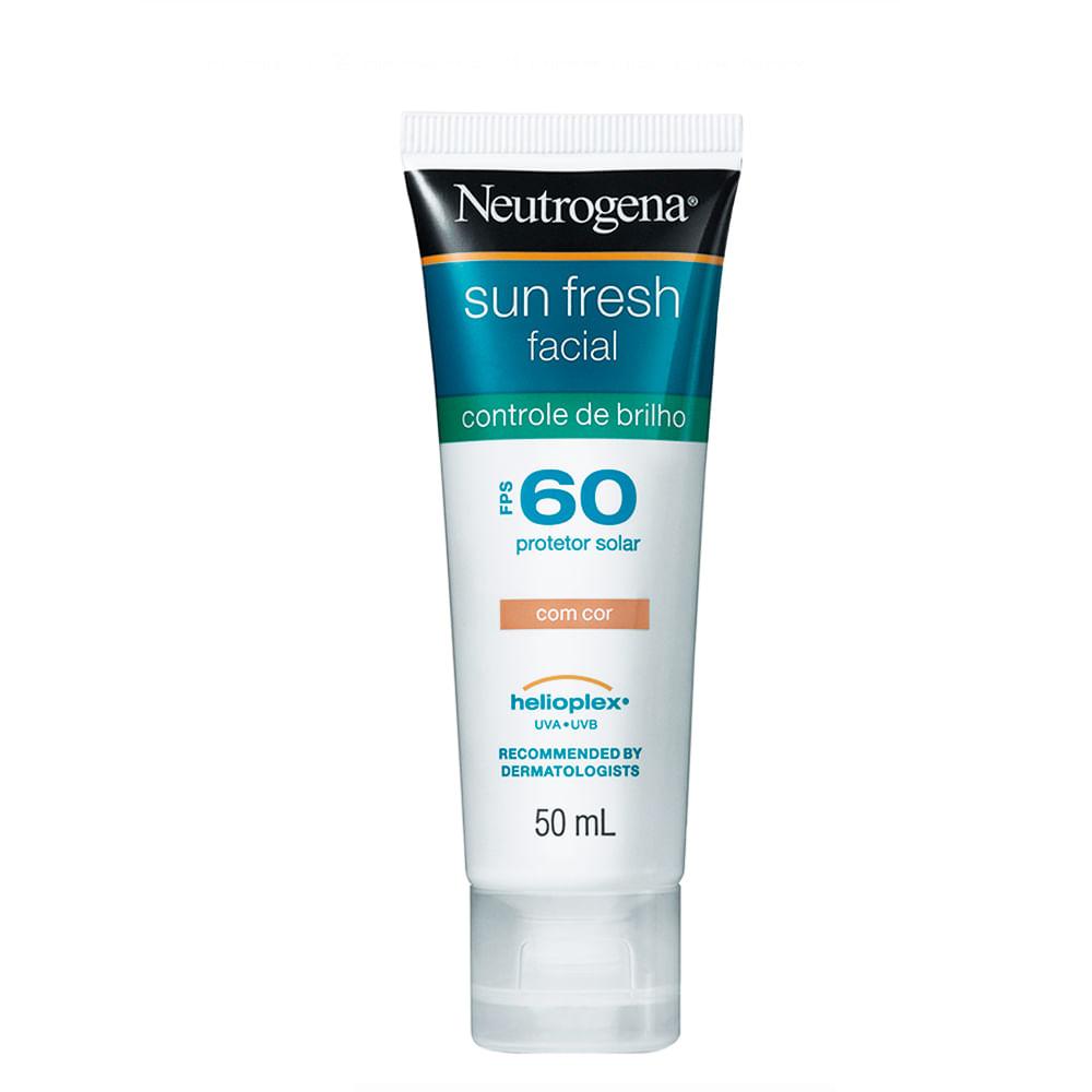 Protetor Solar Facial Neutrogena Sun Fresh Controle de Brilho FPS 60 Gel  Creme com Cor 50ml 7ef97b123e6