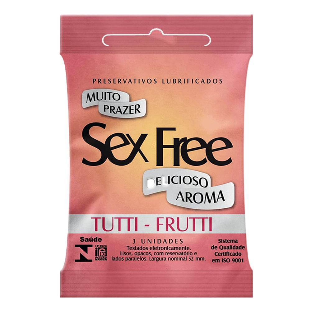Preservativo Sex Free Tutti Frutti com 3 Unidades