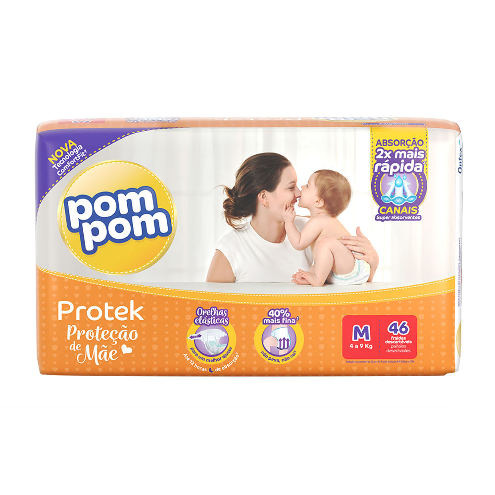 Fralda Pom Pom Protek Proteção de Mãe Tamanho M Pacote Mega 46 Fraldas Descartáveis