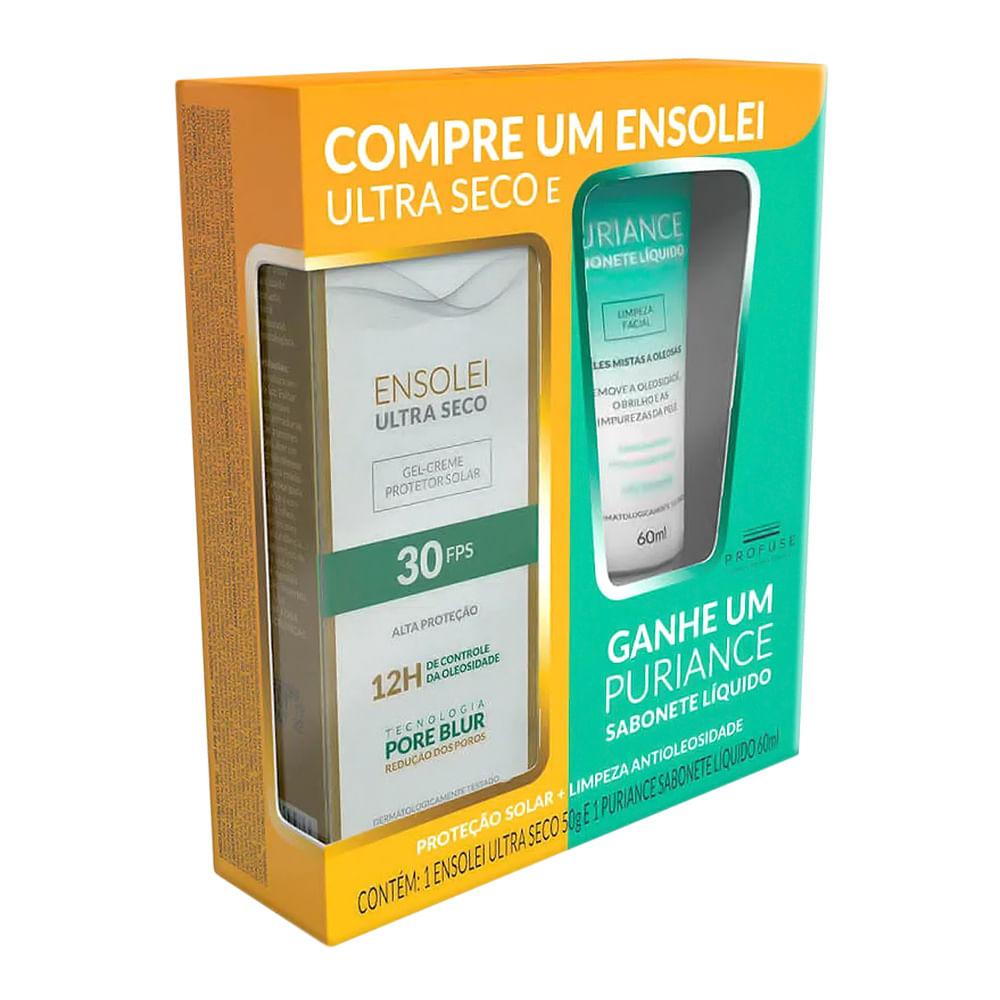 Protetor Solar Ensolei Ultra Seco FPS 30 Gel Creme 50g e Ganhe Sabonete Liquido Facial Profuse Puriance 60ml